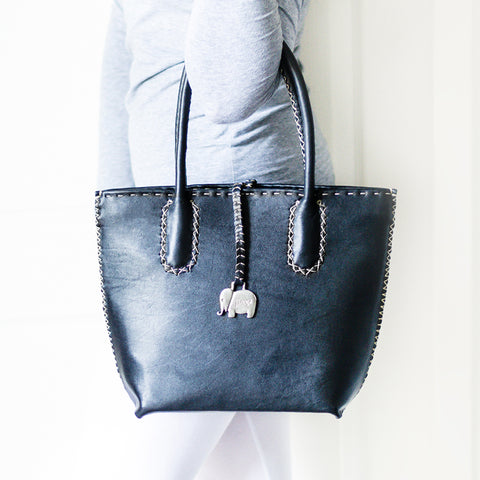 Lando : Ladies Leather Handbag in Gravel Vintage