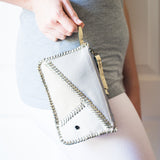 Kutanda : Ladies Leather Clutch Purse in Ghost, Cream and White Cayak