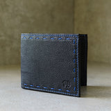 Leefa : Mens Leather Wallet in Black Delta