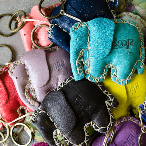 Elephant Silver Keyring in Assorted Leathers