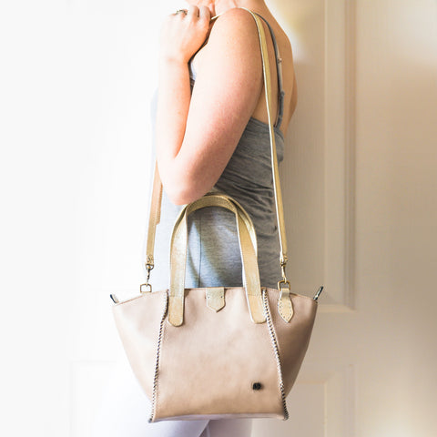 Awonke : Ladies Leather Shopper Handbag in Denim, Highrise Vintage and Platino Metal Grain Sale