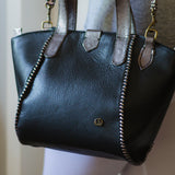 Maita : Ladies Leather Shopper Handbag in Black Cayak and Anthracite Metal Grain