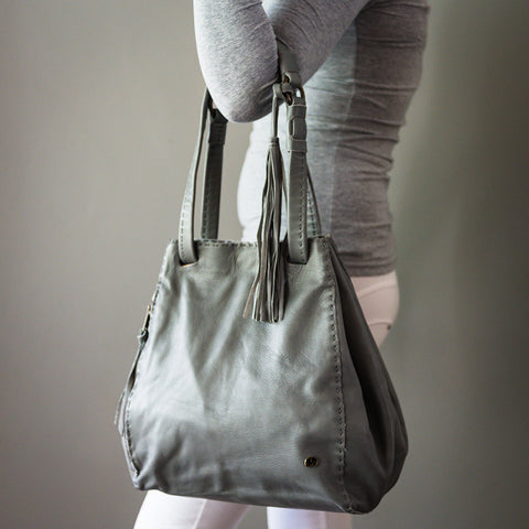 Babalwa : Ladies Leather Shopper Handbag in Gravel & Camel Vintage