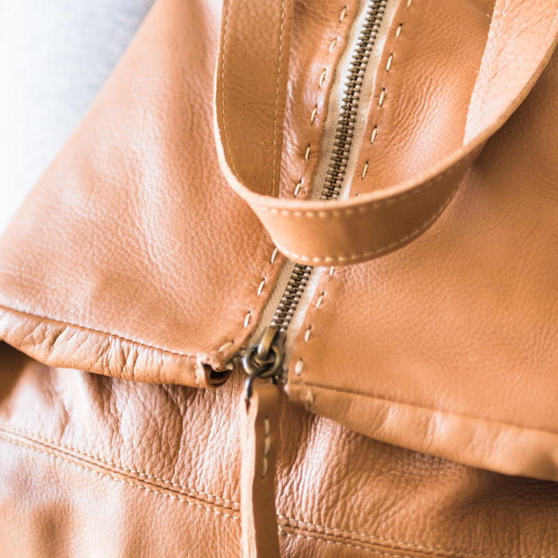 Ncumisa : Leather Backpack in Tan Vintage