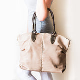 Nolitha : Ladies Leather Shopper & Crossbody Handbag in Gravel Vintage