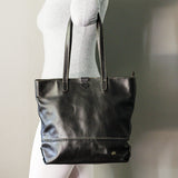 Omari : Ladies Leather Shopper Handbag in Black Vintage