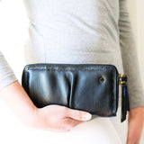Olwethu : Ladies Leather Clutch Purse in Black Cayak