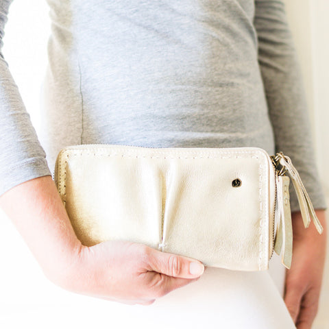 Zoya : Ladies Leather Clutch Purse in Ghost, Cream and White Cayak