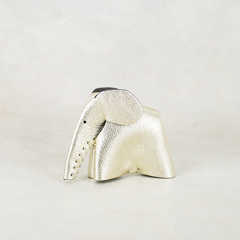 Parva : Small Elephant Family Accessory in Metallic Leather