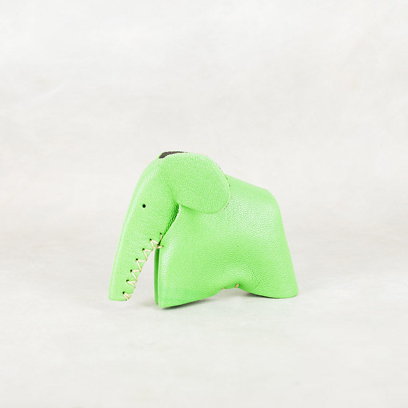 Parva : Small Elephant Family Accessory in Green Leather