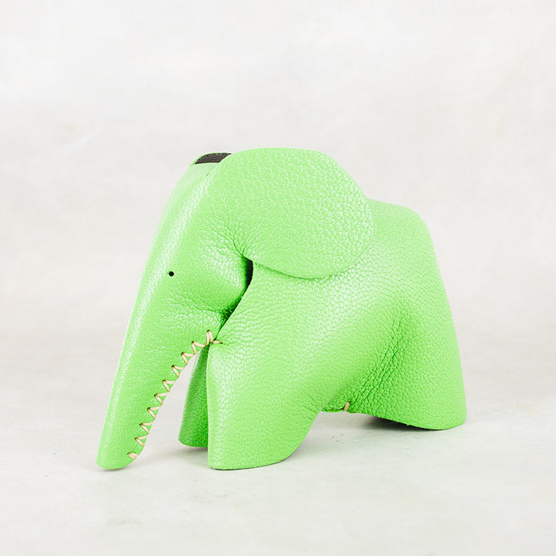 Peaches : Medium Elephant Family Accessory in Green Leather