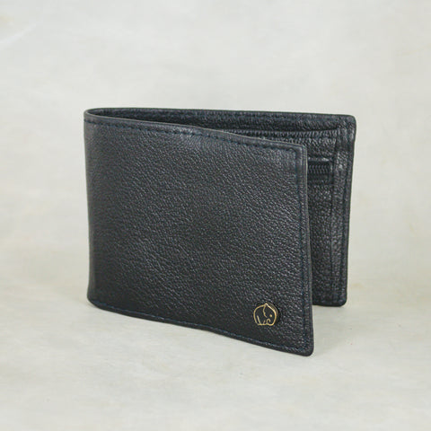 Kutanda : Ladies Leather Clutch Purse in Black, Highrise Vintage and Anthracite Metal Grain