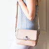 Tileki : Ladies Leather Crossbody Handbag in Rose Cayak & Antique Metal Grain