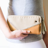 Zoya : Ladies Leather Clutch Purse in Gravel, Camel and Tan Vintage