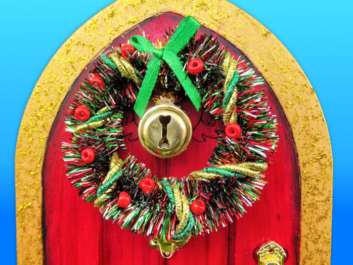 Christmas Elf Door, fairy Christmas wreath