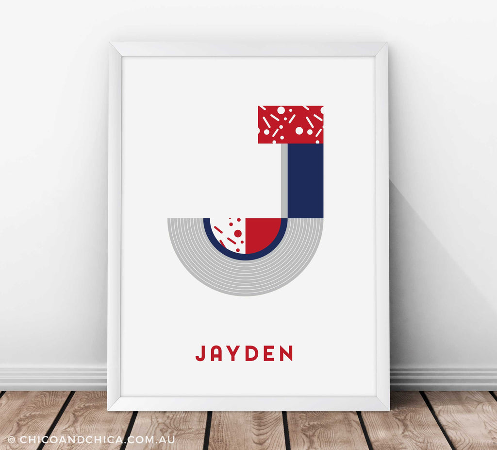 Art Deco Boy Alphabet Letter - Blue and Red - Kids Print - Chico & Chica - Chico & Chica