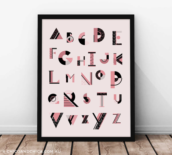 Art Deco Girl Alphabet - Pink - Kids Print - Chico & Chica