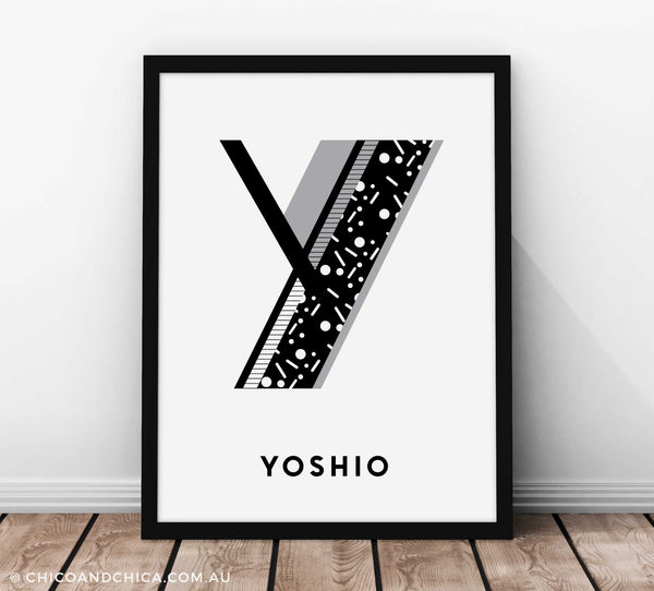 "Art Deco Boy Alphabet-""Y""- Black and White - Kids Print - Chico & Chica"