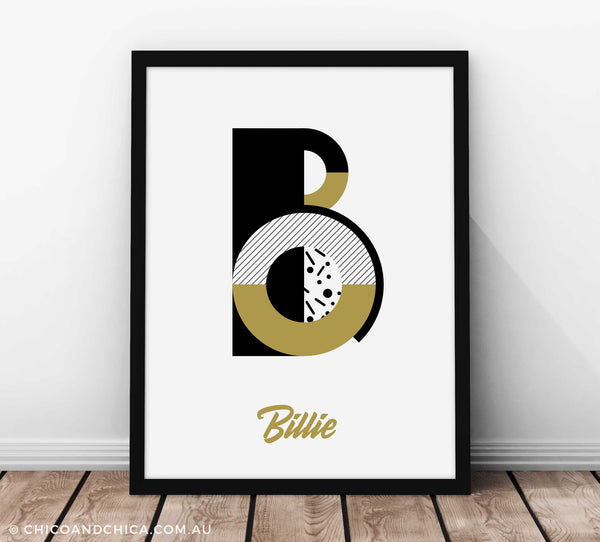 Art Deco Girl Alphabet Letter - Gold - Kids Print - Chico & Chica - Chico & Chica
