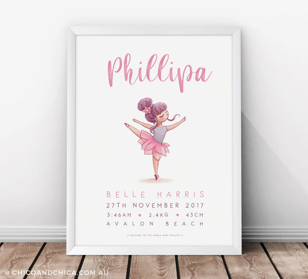 Dancing Ballerina Arabesque - Pink - Birth Print - Chico & Chica