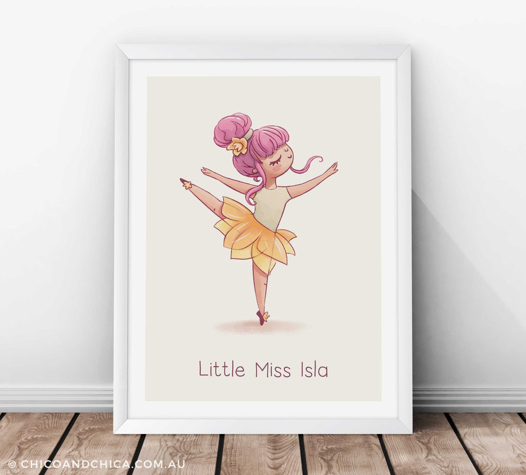 Dancing Ballerina Arabesque Personalised  - Kids Print - Chico & Chica