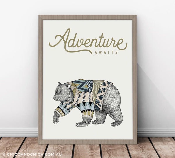 Scandinavian Luonto Bear - Adventure Awaits - Kids Print - Chico & Chica - Chico & Chica