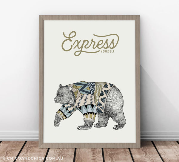 Scandinavian Luonto Bear - Express Yourself - Green - Kids Print - Chico & Chica