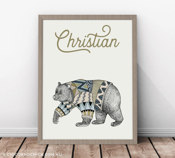 Scandinavian Luonto Bear - Personalised - Kids Print - Chico & Chica - Chico & Chica