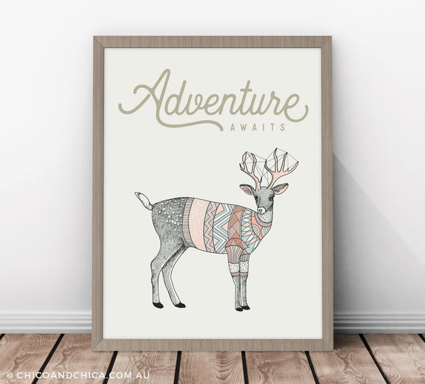 Scandinavian Luonto Deer - Adventure Awaits - Kids Print - Chico & Chica - Chico & Chica