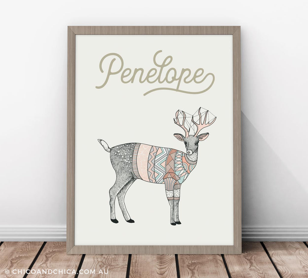 Scandinavian Luonto Deer - Personalised - Kids Print - Chico & Chica - Chico & Chica