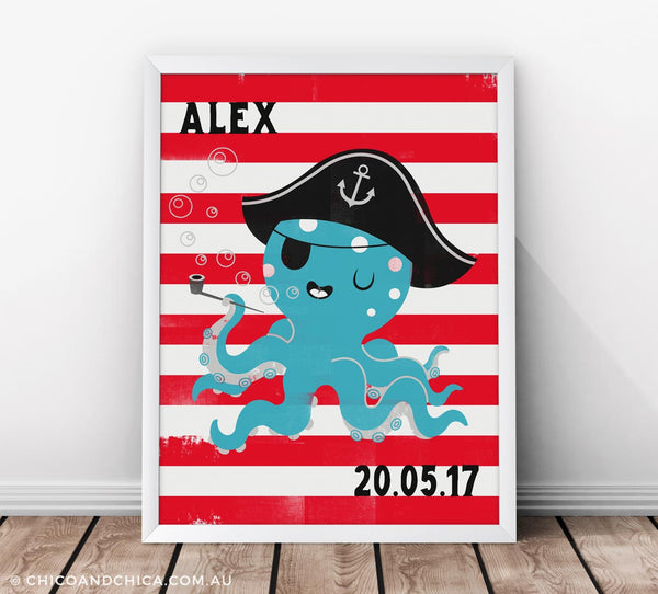 Octopus - Personalised and D.O.B - Red - Kids Print - Chico & Chica