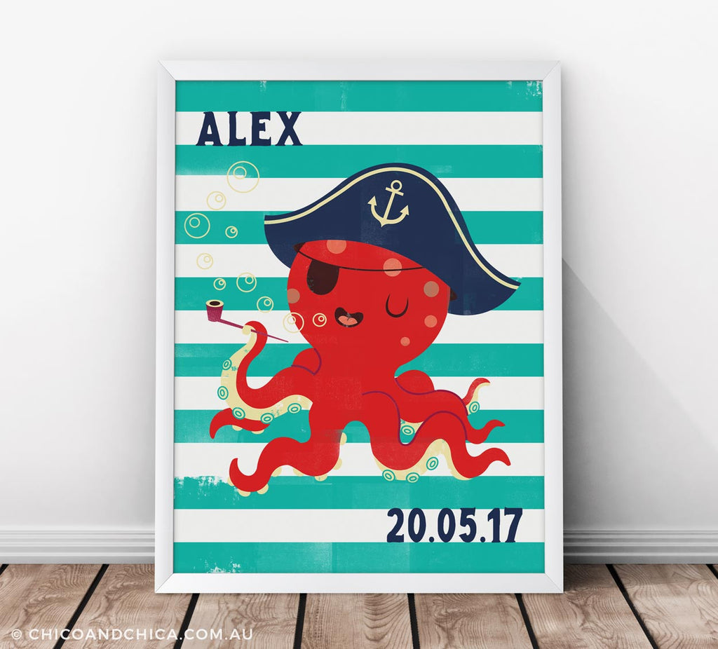 Octopus - Personalised and D.O.B - Turquoise - Kids Print - Chico & Chica