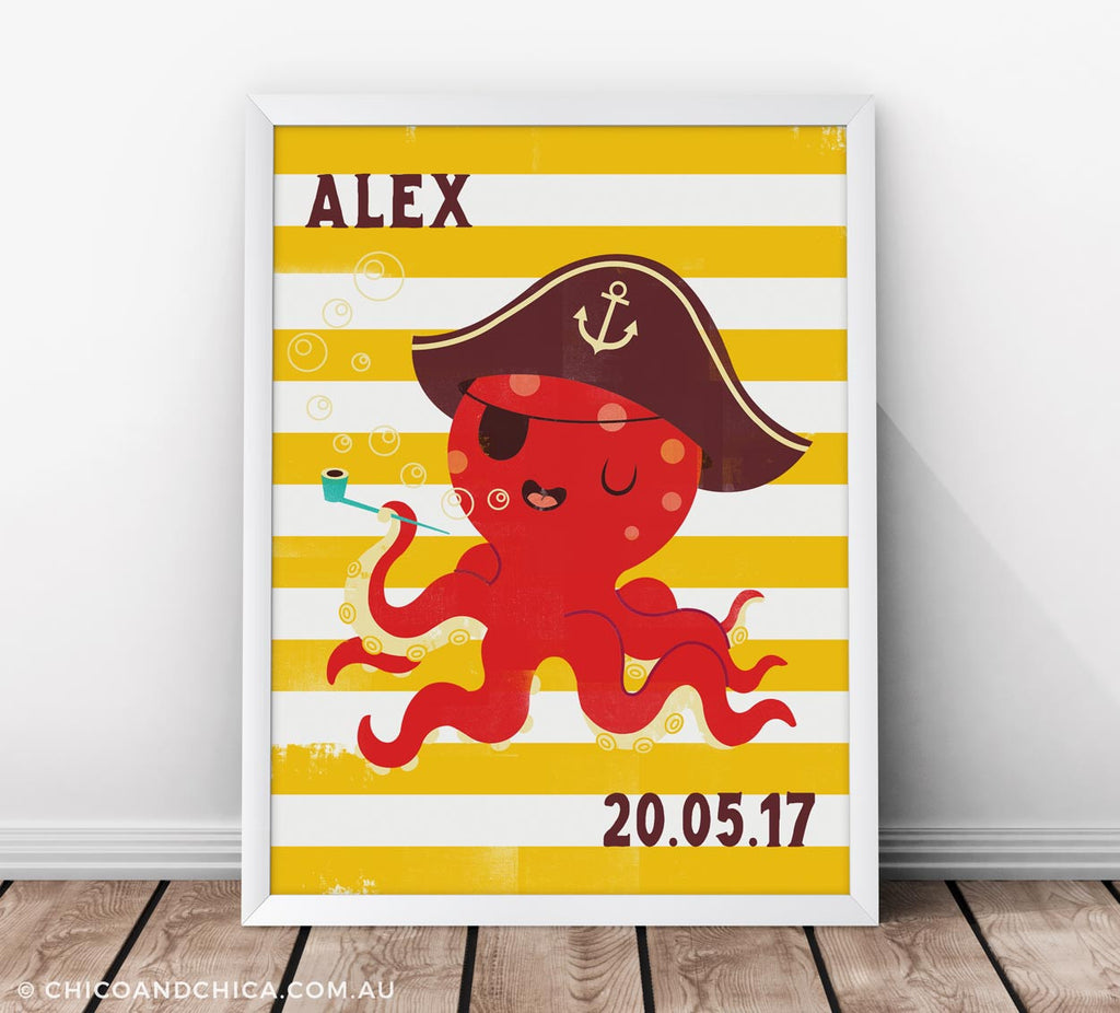 Octopus - Personalised and D.O.B - Yellow - Kids Print - Chico & Chica