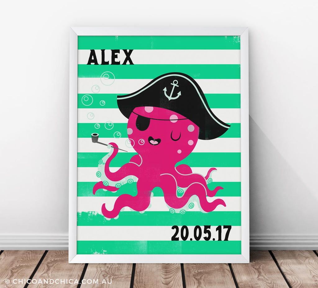 Octopus - Personalised and D.O.B - Green - Kids Print - Chico & Chica