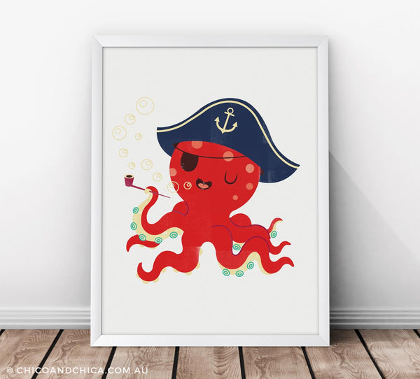 Octopus - Plain Background - Red / Blue - Kids Print - Chico & Chica