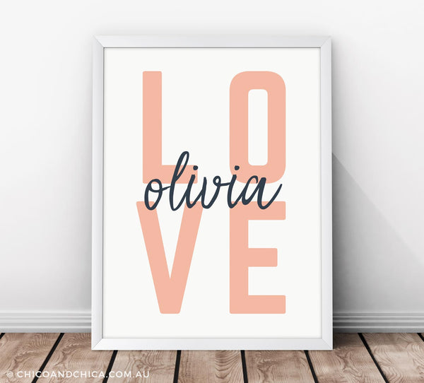 Scandinavian Love - Personalised - Kids Print - Chico & Chica - Chico & Chica