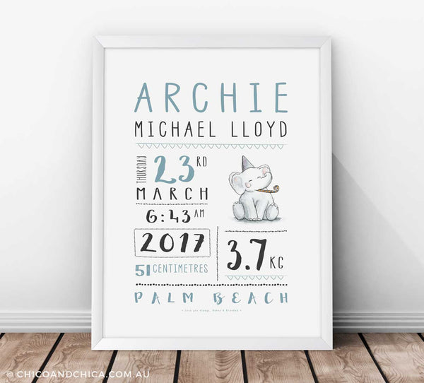 Personalised Birth Prints - Elephant - Chico & Chica