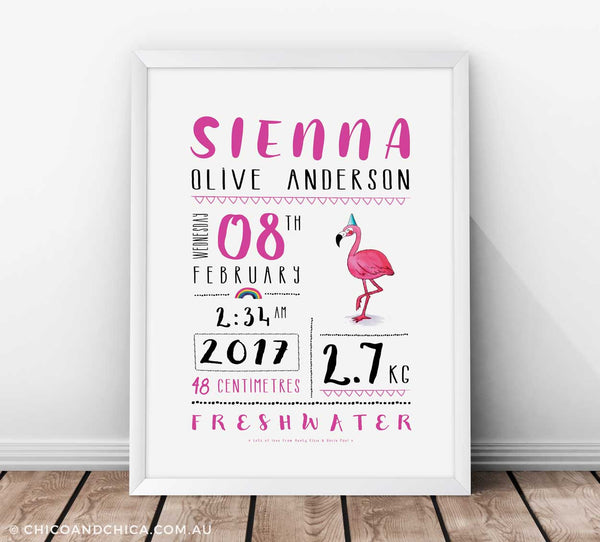 Personalised Birth Prints - Flamingo - Chico & Chica