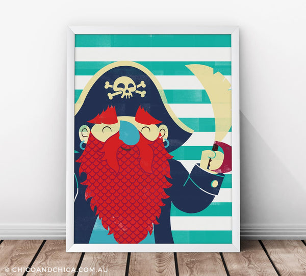 Pirate - Stripes - Turquoise - Kids Print - Chico & Chica