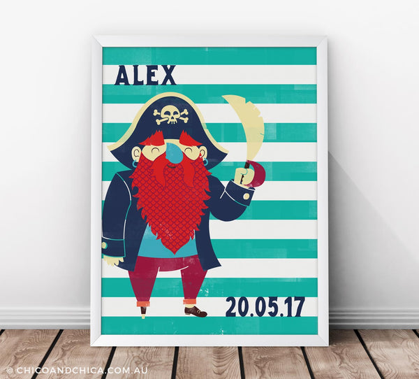 Pirate - Personalised and D.O.B - Turquoise - Kids Print - Chico & Chica