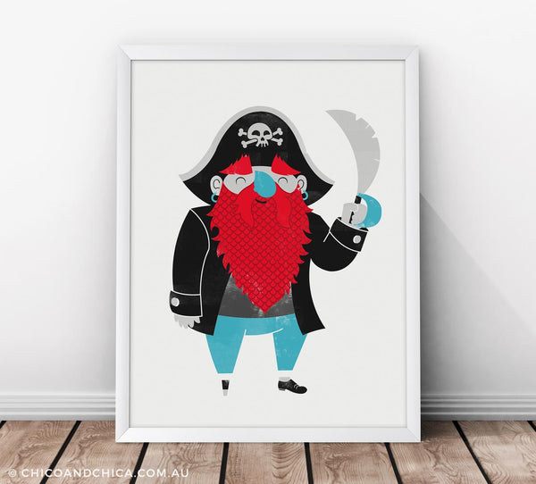 Pirate - Plain Background - Black - Kids Print - Chico & Chica