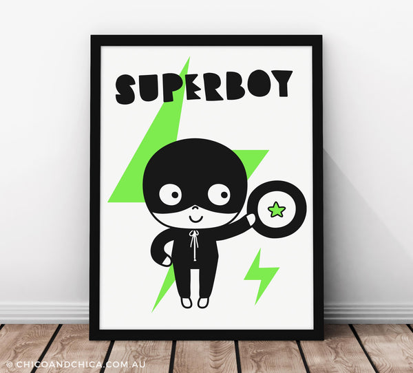 Super Boy with Title - Green - Kids Print - Chico & Chica