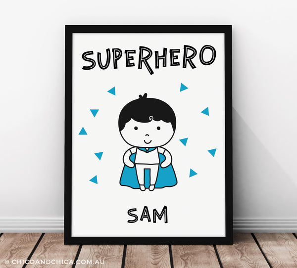 Superkid Personalised - Blue - Kids Print - Chico & Chica
