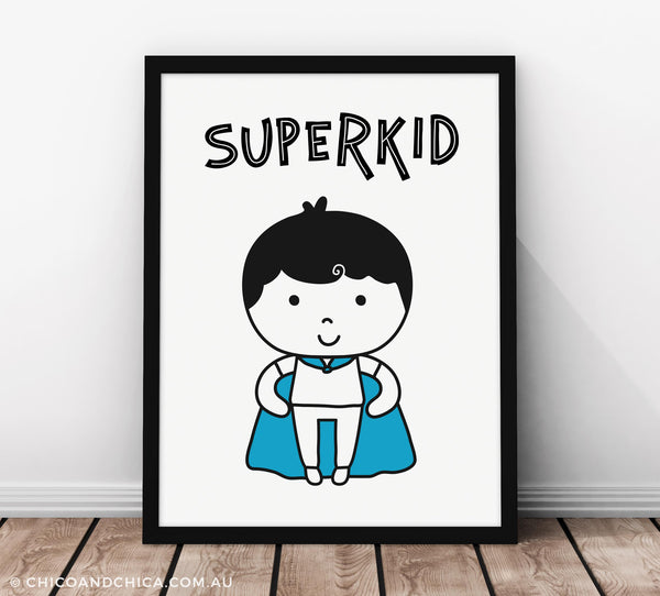 Superkid with Title - Blue - Kids Print - Chico & Chica