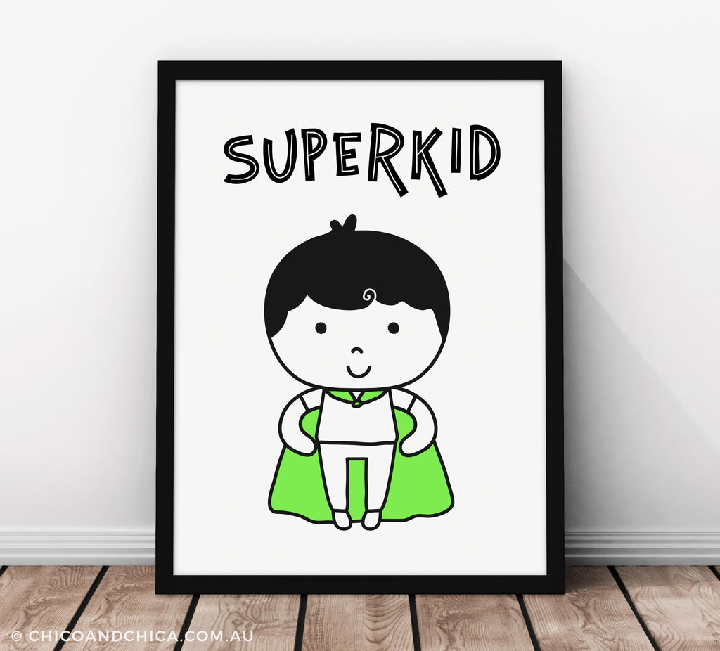 Superkid with Title - Kids Print - Chico & Chica