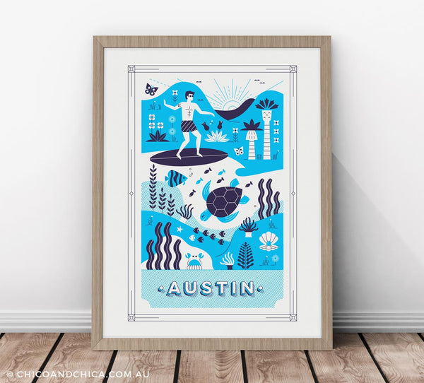 Aloha Surf - Personalised Boys - Blue - Kids Print - Chico & Chica