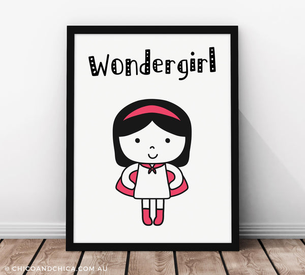 Wondergirl with Title - Pink - Kids Print - Chico & Chica