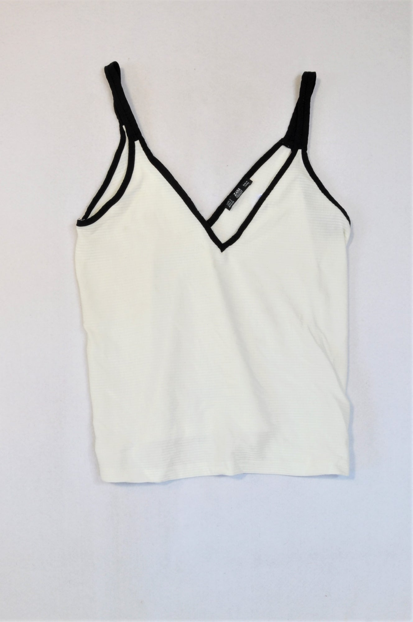 Zara Off White & Black Strap Ribbed Top Women Size S