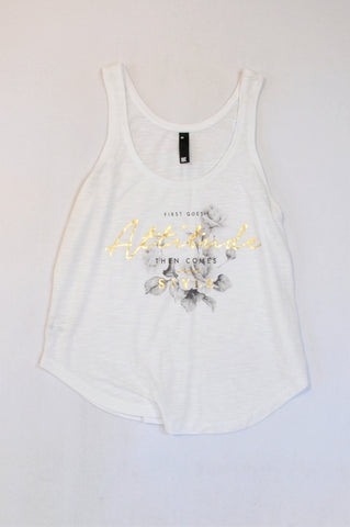 Woolworths White Heathered Gold Attitude Tank Top Women Size XS
