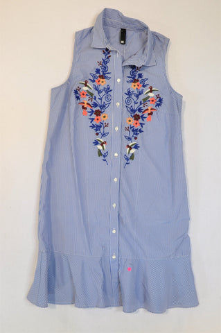 Woolworths Blue & White Thin Stripe Embroidered Flowers Dress Women Size 6